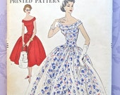 Vintage 1950s Womens Dress Pattern Evening or Mid Calf Length- Vogue 9035