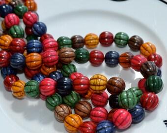 Large Magnesite Multicolor 13mm Melon Beads   FULL STRAND