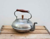 Vintage BONGUSTO Italy Teapot with Rosewood Handle. Copper. Pewter. Primitive.