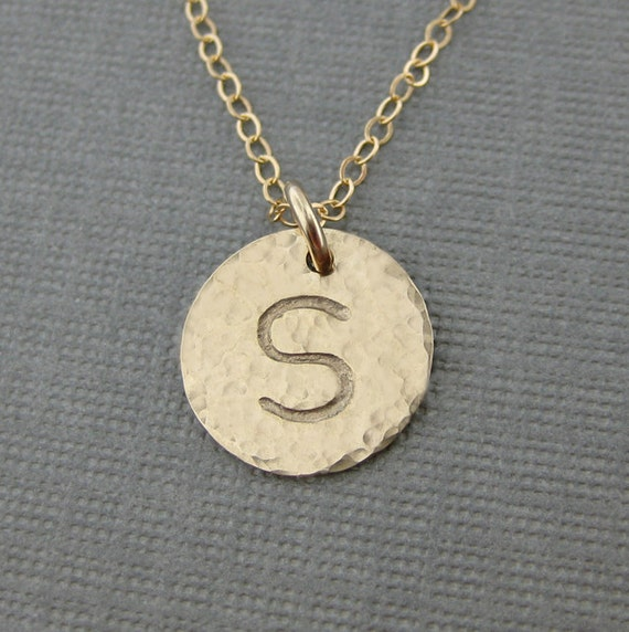 Hand stamped GOLD Filled Initial Jewelry / Personalized necklace - Bridesmaids Gift