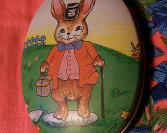 tiny adorable rabbit tin box