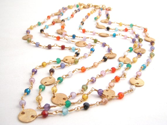 Multi Colored Cubic Zirconia Multi Strand Necklace, Rosary Style, Turquoise, Orange, Pink, Gold, Green