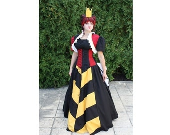 Queen of Hearts - Top Corset Skirt Bolero Shrug and Crown - Custom Size - by LoriAnn