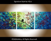 """Landscape Abstract Painting  Original Heavy Texture Impasto Palette Knife Love Birds Tree Wall Decor """"The Evening Chat"""" by QIQIGALLERY"""