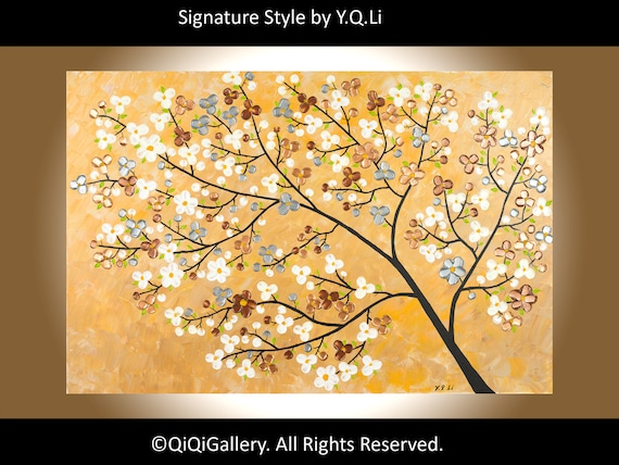 """Contemporary Landscape Painting Heavy Texture Metallic Colors Palette Knife Wall art """"Reaching out"""" by qiqigallery"""