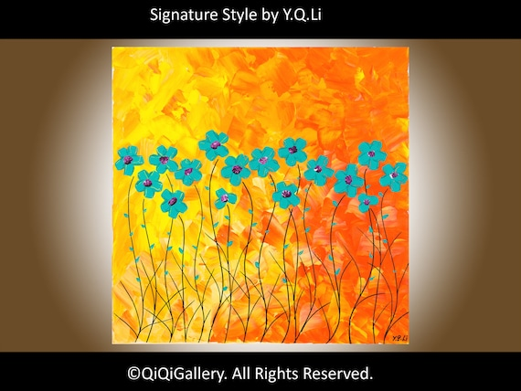 """Original oil painting  Heavy Texture Impasto Palette Knife Acrylic Wall Décor """"The Warmth of Summer"""" by QIQIGALLERY"""