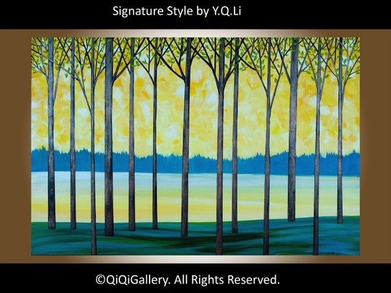 """Abstract Landscape Painting 36"""" Original Modern Palette Knife Gallery Wrapped Canvas Tree Branches Tress Wall Decor """"The New Beginning"""""""
