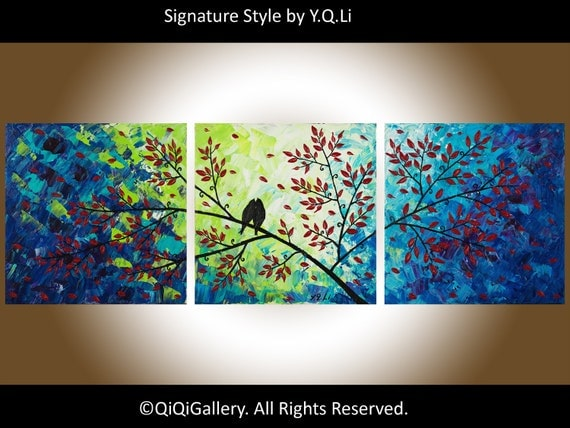 "Landscape Abstract Painting  Original Heavy Texture Impasto Palette Knife Love Birds Tree Wall Decor ""The Evening Chat"" by QIQIGALLERY"