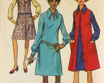 Vintage 70s Sewing Pattern, Misses Dress and Jumper, Size 12