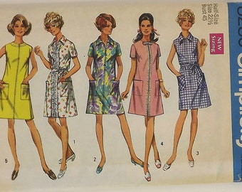 Vintage 60's Sewing Pattern, Misses' Dress, Size 22 1/2