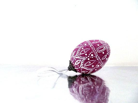 Purple and White Hand Painted Egg Ornament