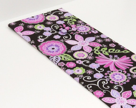 Magnet Board 8.5 inch x 36 inch with Purple Flowers on Brown Fabric- Ready to ship Magnet Board
