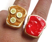 Peanut Butter Banana and Strawberry Jelly Best Friend Rings, Nickel Free