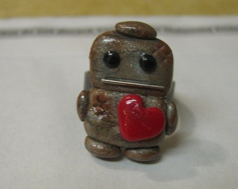 SALE Rusty Robots Need Love Ring, Nickel Free, Ready To Ship