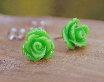 apple green parade rose flower earrings by yeahhello