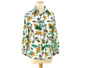 Vintage Blouse 70s Signed Vera Neumann Oak Leaves Acorn Small