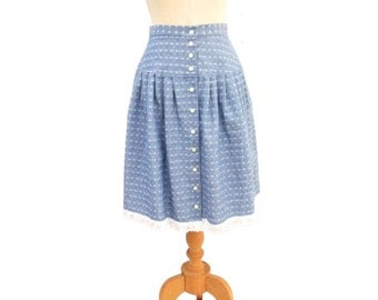 Vintage 80s Skirt Button Front Blue Chambray White Eyelet Lace Drop Waist size Small