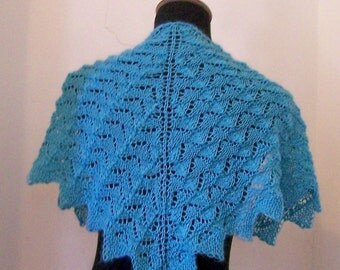 Handknit Lacy Shawl Wrap in Lovely Mystic Blue Teal