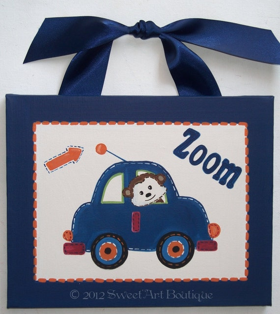 Transportation cars vroom zoom beep door CUSTOM canvas orange blue monkey wall HAND PAINTED boy wrecker car truck