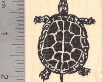 Turtle Rubber Stamp J18208 Wood Mounted