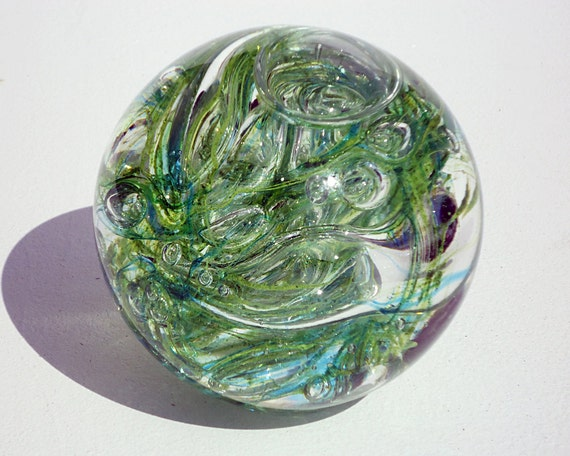 Green Glass Paperweight - Free Shipping