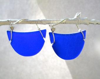 seaglass cobalt crescent earrings