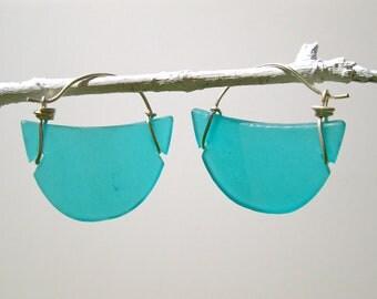 blue-green seaglass crescent hoop earrings
