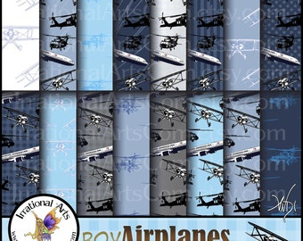 Boy Airplanes Blues Digitial Scrapbooking Papers - 16 jpg files - bi planes airliners black hawk choppers [INSTANT DOWNLOAD]
