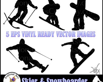 INSTANT DOWNLOAD Eps VINyL READY Vector Images of Skiing & Snowboarding Silhouettes 5 eps and 5 png graphics