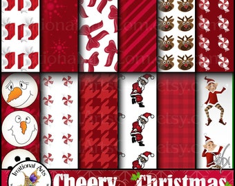 Cheery Red Christmas INSTANT DOWNLOAD 12 jpg files digital papers elves santa Rudolph snowmen bows gifts snowflakes peppermint houndstooth