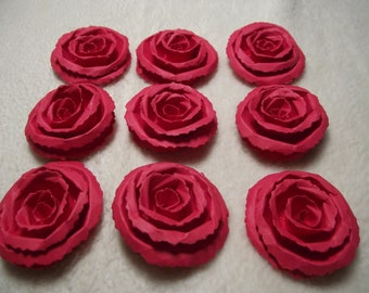 Scrapbook Paper Flowers...9 Piece Set Very Beautiful and Elegant Red Scrapbook Rolled Paper Flower Roses