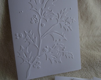 Embossed Christmas Cards...5 Sets of Very Simple and Elegant Holly Berries Embossed Note Card and Envelopes