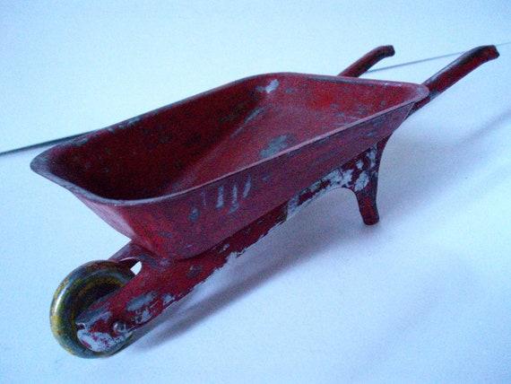 Vintage Red Metal Toy Children's Wheelbarrow 1940s