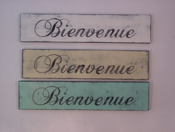 FRENCH COUNTRY WELCOME sign Bienvenue /  housewarming gift / shabby cottage chic welcome sign / bienvenue