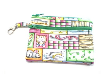 Larger Zippered Wallet Change Purse Gadget Case Cat and Mouse Patchwork