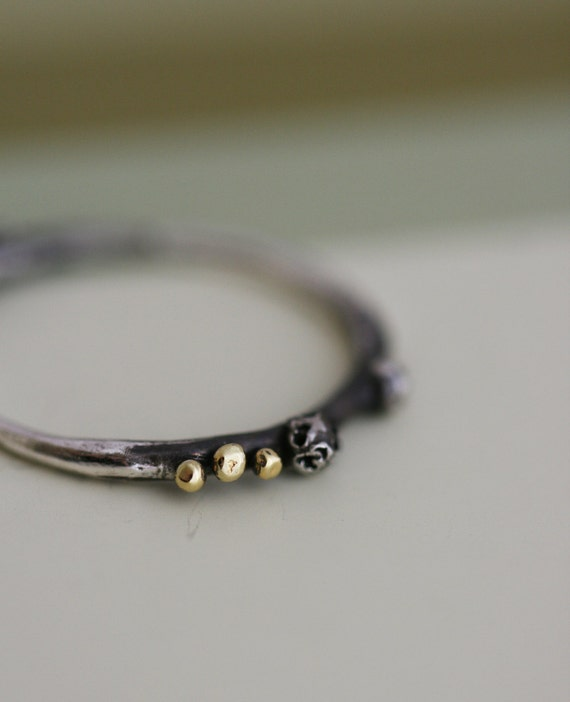 Spore Ring  - Oxidized Sterling Silver Ring with 22ct Gold beads