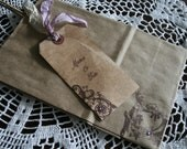 WEDDING GIFT BAGs with Tags- wedding favor , birthdays - French Face with bird image - choice of ribbon & stone colors - set of 10