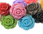10pc you choose matte rose 25mm resin flower cabochons, great for making pendants, 9 colors
