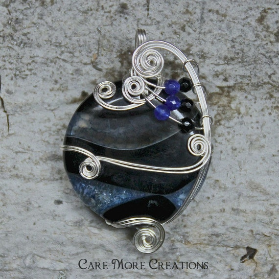 Wire Wrapped Necklace- Indigo Blue Druzy Crystal Agate Pendant in Silver Plate Wire - Healing Stone