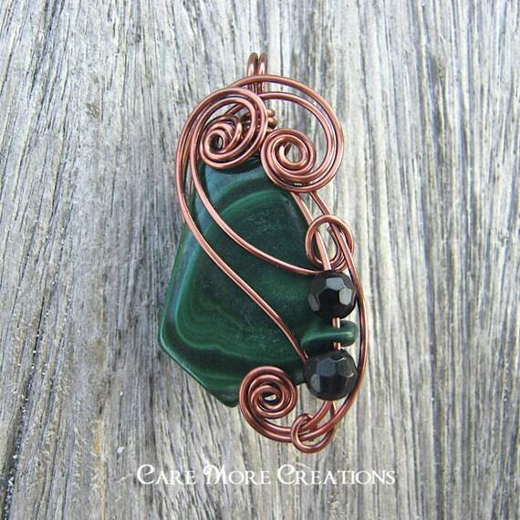 Green Malachite Necklace - Wire Wrapped Stone Pendant in Antique Copper