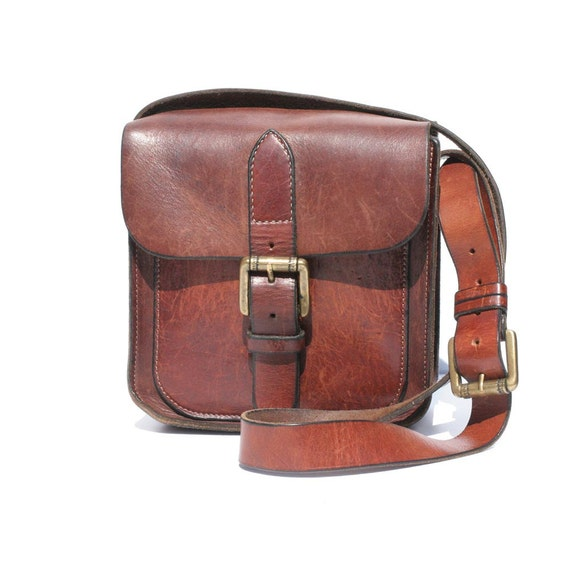 Rust Brown Leather Saddle Bag Cross Body Satchel