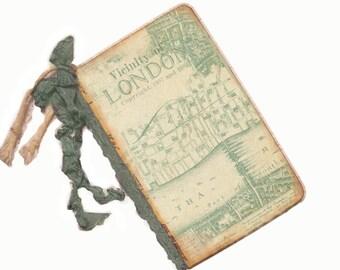 London Travel Journal,  London Travel Diary,  Vintage Map of London, Stocking Stuffer, Sage Green, Small Pocket Travel Journal, Old Map