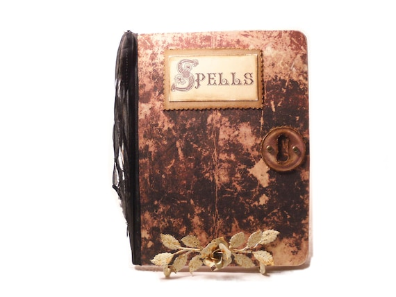 Halloween Spell Book Spells and Incantations, Spell Journal, Faux Leather, Halloween Notebook,  Blank Halloween Journal Primitive Aged Look