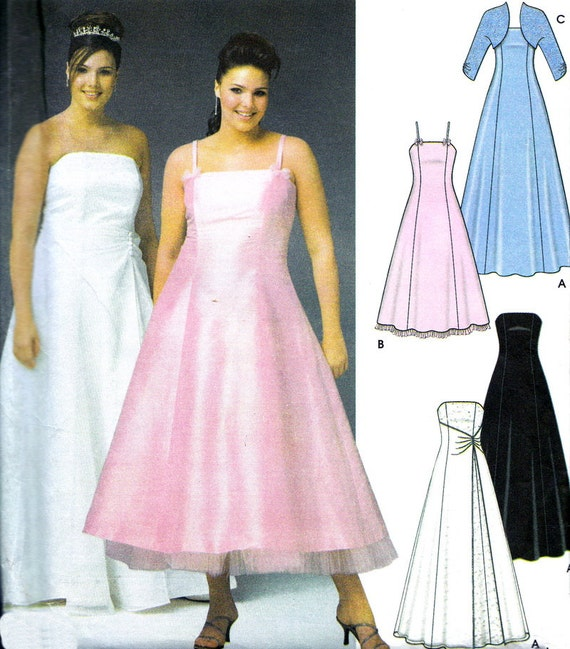 Sewing Pattern Simplicity 5207 Plus Size Strapless Gown, Evening Gown, Wedding Dress, Bolero Sz 26W-32W Bust 48-54 OOP FF