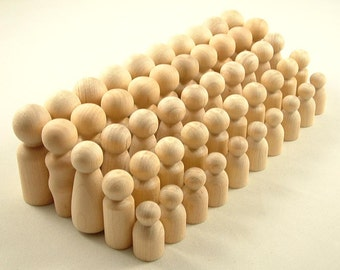 50 Peg Dolls - Ten Families of Five - Unfinished Wooden Peg Dolls for DIY
