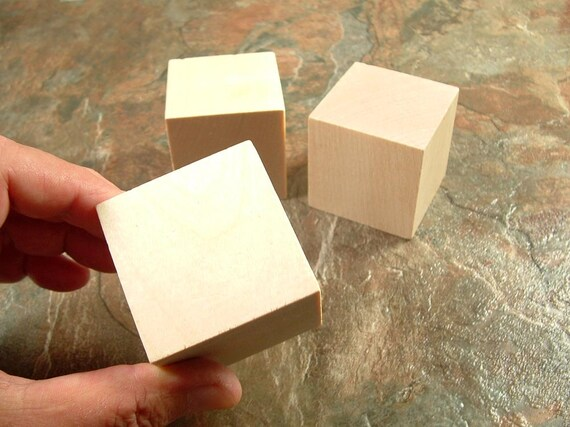 3 wood blocks square 2 inch unfinished wooden blocks by wooweeble. Black Bedroom Furniture Sets. Home Design Ideas