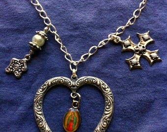 Large Heart Our Lady of Guadalupe vintage crucifix long necklace