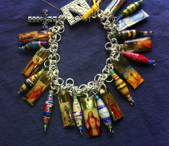 Funky Catholic Charm Bracelet with African paper beads OOAK