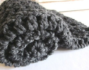 Baby blanket ~ chunky soft wool blend ~ Charcoal Gray