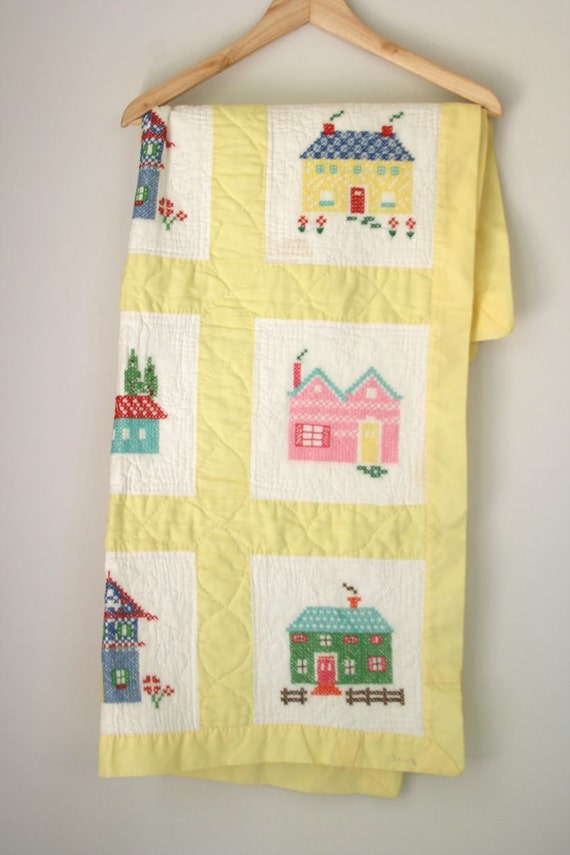 VTG hand stitched baby quilt with cross-stitched houses
